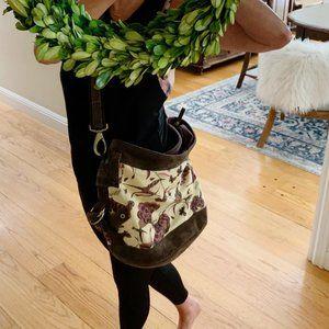 Lucky Brand RUNAWAY Canvas Suede Crossbody  Bag